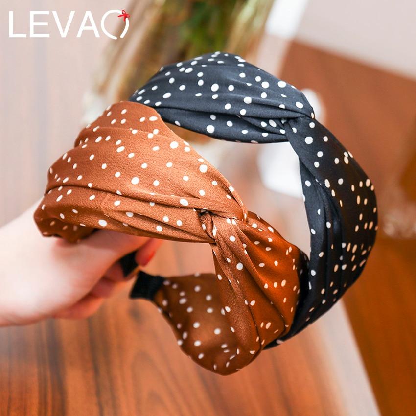 Levao Trendy Dot Print Crossed Girls Hairbands Top Cross Headbands Fashion Wide Headband Head Hoop Women Hair Accessories