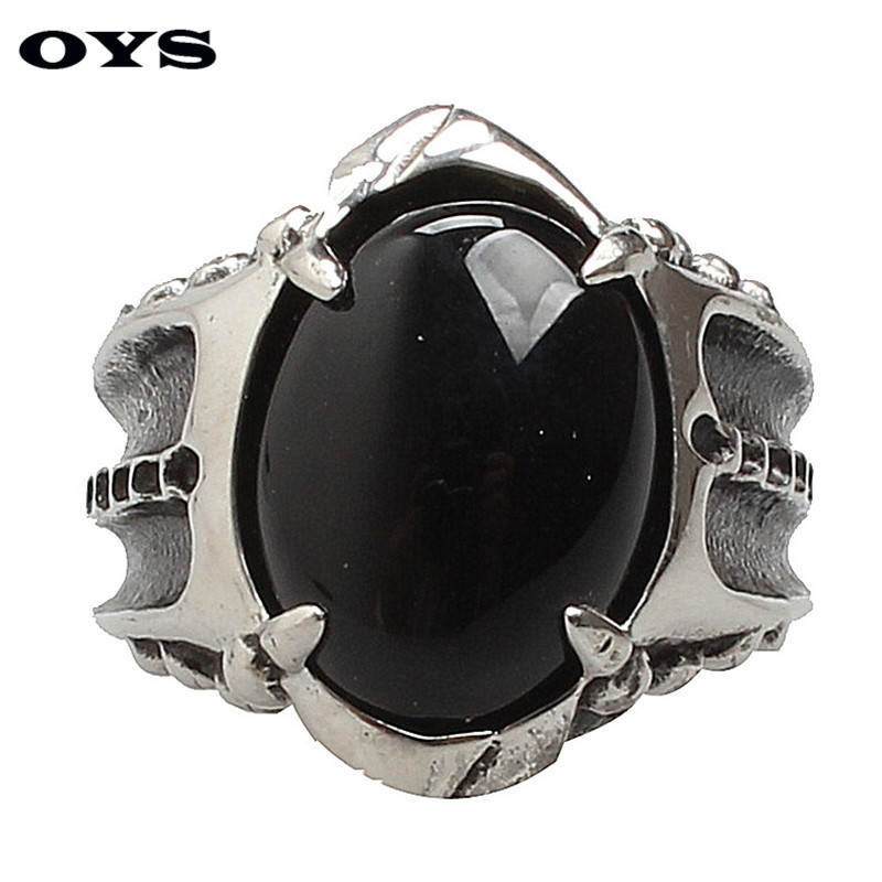 Classic Style Black Onyx 316L Stainless Titanium Steel Wedding Party Fashion Design Punk Claw Ring Size 7 8 9 10 11
