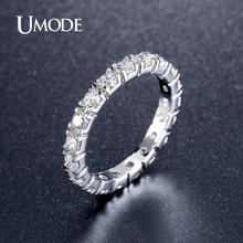UMODE, новинка, горячие подарки, белое золото, 0.1ct, круглый искусственный CZ камень, круг, обручальные кольца вечности, кольца, ювелирные изделия для женщин UR0357
