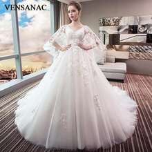 VENSANAC Pearls V Neck Ball Gown Lace Appliques Wedding Dresses 2018 Half Sleeve Luxury Court Train Bridal Gowns