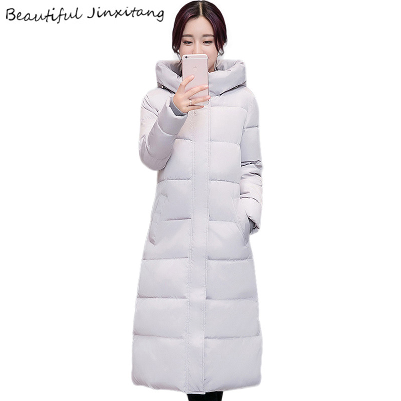2017 New Coats Winter jackets women Long section Knee Cotton Uniform color Long sleeve Down jacket Elegant Casual coat K77 A4