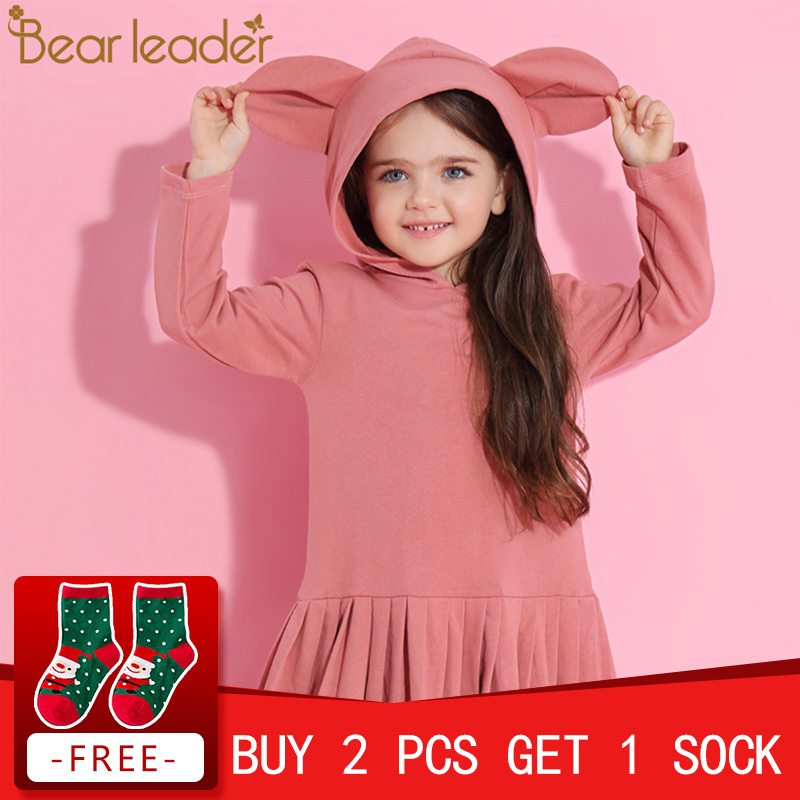 Bear Leader Girls Dress 2018 New Spring Brand Baby Girls Blouse Rabbit Ears Hooded Ruched Long Sleeve Children Dress 2-6 Years retro ruched swing pin up dress