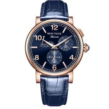 цена Reef Tiger/RT 2020 Luxury Men  Leather Strap Calendar Rose Gold Case Genuine  Analog Automatic Watches  RGA1978 онлайн в 2017 году