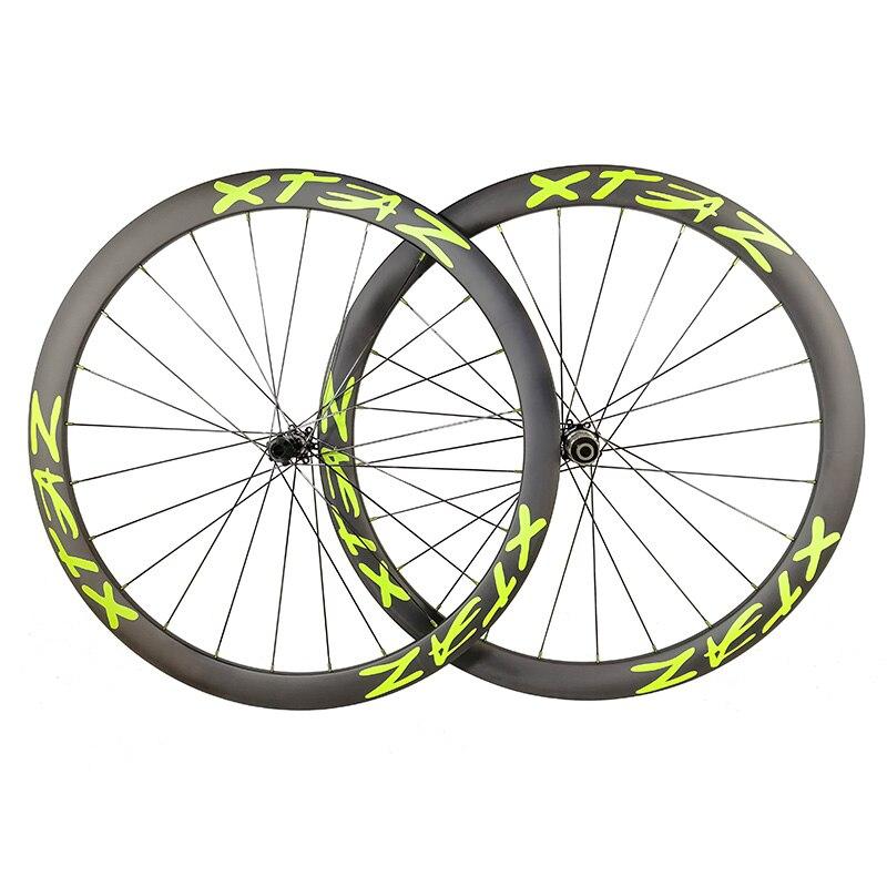Super Light Asymmetric 42 mm Clincher tubeless or TUBULAR carbon wheels 25mm wide Road disk hubs
