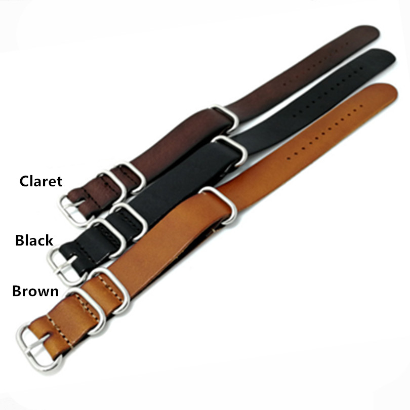 18MM 20MM 22MM Nato Strap Genuine Leather Color Watch Band For NATO straps Zulu Straps