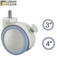 3 pulgadas/4 pulgadas, ruedas médicas/ruedas con freno de punto, tornillo M12x25, conveniente, para Carro de Hospital, ruedas industriales