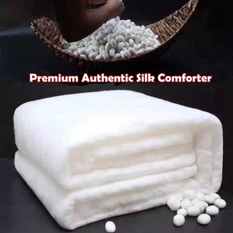 Summer Winter Mulberry Silk Quilts Hand Work Positioning Silk Comforter 100%Cotton Duvet Cover Silk Blanket Bedding Home Textile