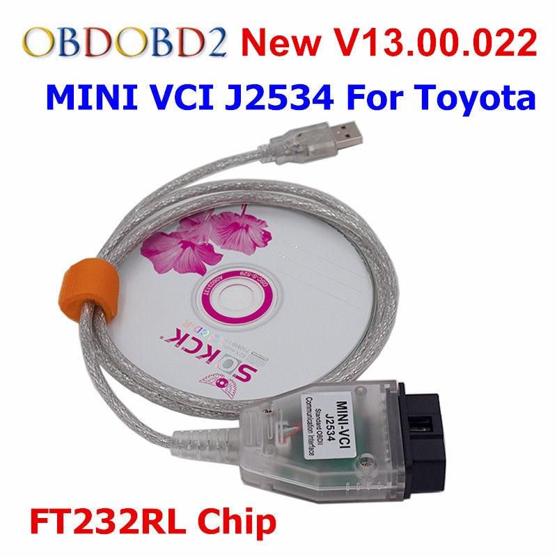 Ultime J2534 V13.00.022 MINI VCI Per Toyota TIS Techstream Interfaccia OBDII Standard di Comunicazione Diagnostica MINI-VCI Cavo USB