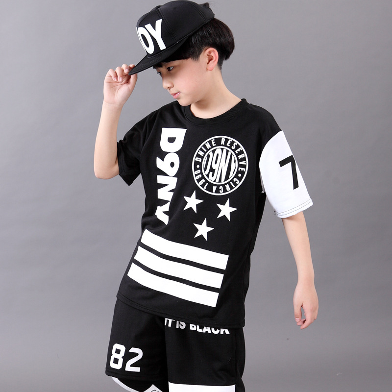 Boy hip hop clothing Children's short-sleeved suits Boys Set Stylish dance costumes Shirt and shorts plus play low pants 3pcs