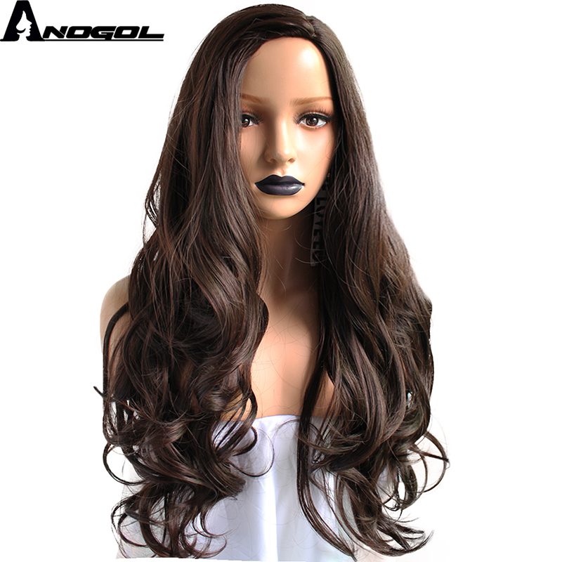 Anogol High Temperature Fiber Perruque Deep Peruca Long Body Wave Full Hair Wigs # 2 Dar ...