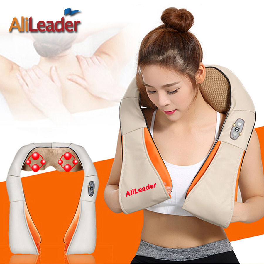 Alileader Comfortable Portable Massage Pillow 8 Massage Heads With Warm Heat For Back Neck Shoulder Abdomen Cellulite Massager