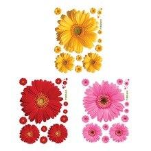 Hoomall цветы наклейки на стену рукоделие Съемный ПВХ наклейки Желтый Красный Розовый для декора окна спальни декоративные наклейки на стену
