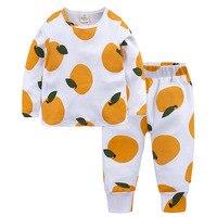 Abbigliamento per bambini set autunno e inverno modelli stampati cotone frutta casa i bambini vestiti delle ragazze dei ragazzi della biancheria intima set 12M-7Y