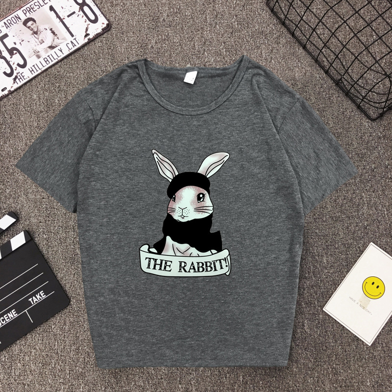 Cute Rabbit Print Women Tshirt High Quality Short Sleeve Round Neck Cotton Spandex Women Tops Casual Loose Women T-shirt 6