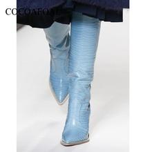 Купить с кэшбэком KEAIQIANJIN New Pointed Women Cowboy Boots High Heel Knee High Boots Patchwork Embossing Plaid Runway Boots Knight Long Booties