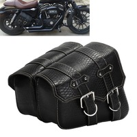 Saddle Bags For Harley Motorcycle PU Leather 2pcs Left Right Side Tool Pouch Saddle BagsSide Storage Tool Pouches