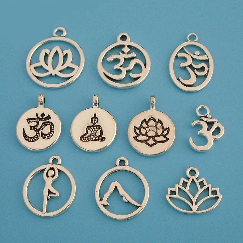 20 x Tibetan Antique Silver Tone Metal Round Aum Om Symbol Yoga Charms Pendants Beads for DIY Handmade Jewelry Making Findings