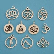 20 x Tibetan Antique Silver Tone Metal Round Aum Om Symbol Yoga Charms Pendants Beads for DIY Handmade Jewelry Making Findings