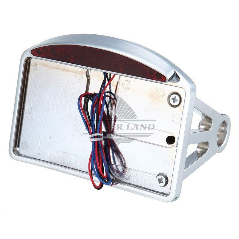 1 3/4 Chrome Aluminum Back Axle Side Mount License Plate Holder LED Tail Brake Light Frame Bracket For Harley Customs Choppers