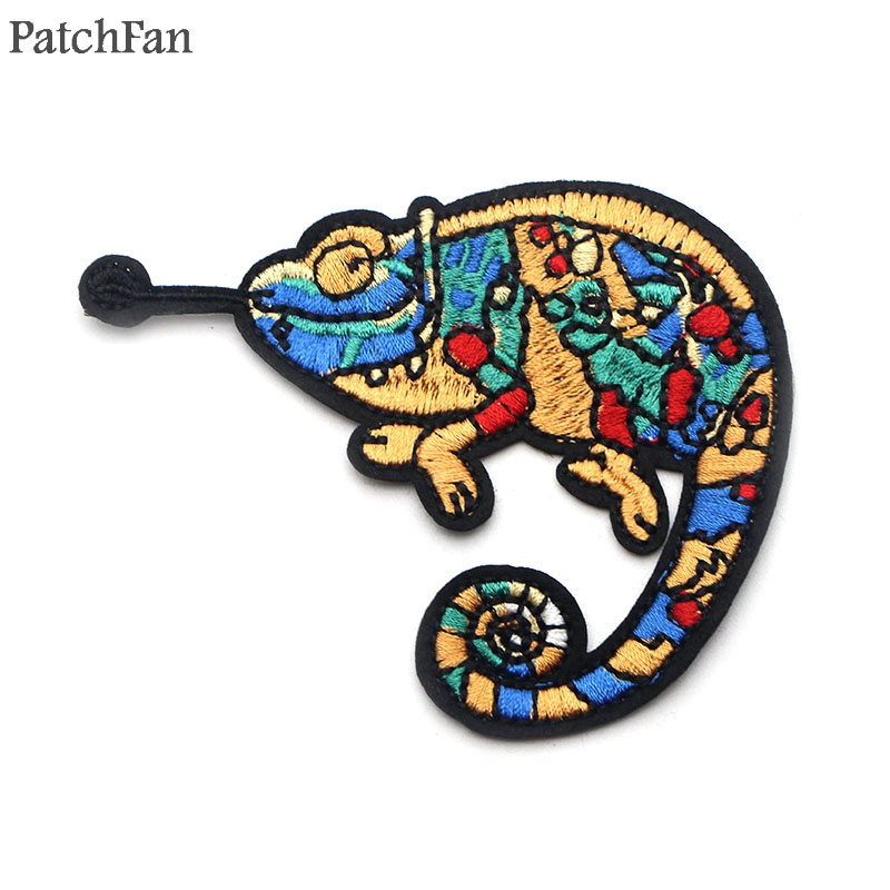 A0568 Patchfan lizard patches animal insect badges creative DIY Embroidered Iron On clothing Accessories Appliques Home Garden