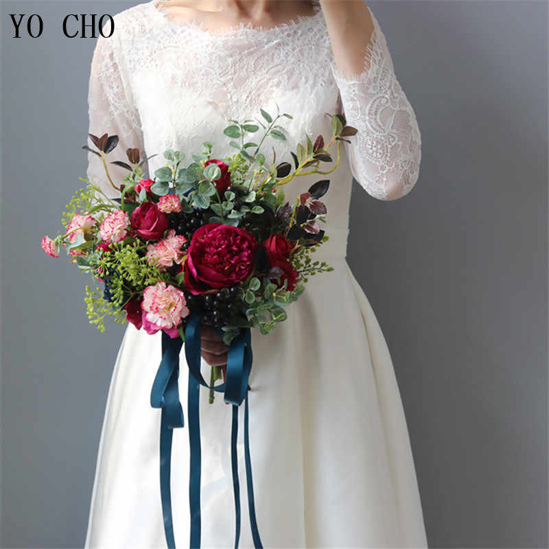 YO CHO Fashion Bride Hand Flowers Beautiful Peony Wedding Bouquets Artificial Rose Silk Flowers DIY Bouquet White Peony Red Rose