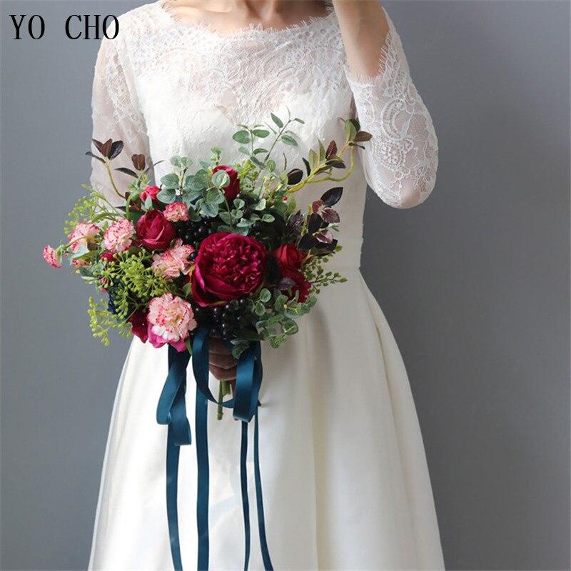 YO CHO Fashion Bride Hand Flowers Beautiful Peony Wedding Bouquets Artificial Rose Silk Flowers DIY Bouquet White Peony Red Rose