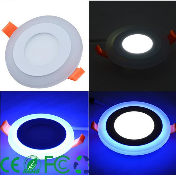 3 Model Round blue+white double color Led Panel Light 6w/9w/16w/24W AC85-265V Recessed LED Ceiling downlight down lights tl19d24x1w 24w led driver white blue 85 265v