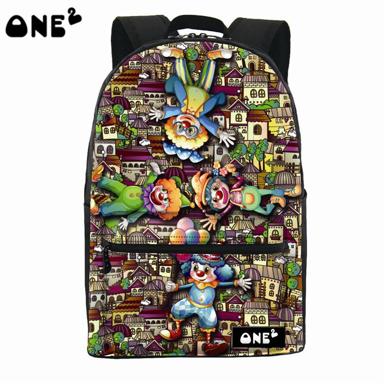 ONE2 Design cartoon clown city polyester school bag laptop backpack women man college university students teenager boys girls server memory for r610 t610 r620 t620 8g ddr3 1333 ecc reg one year warranty