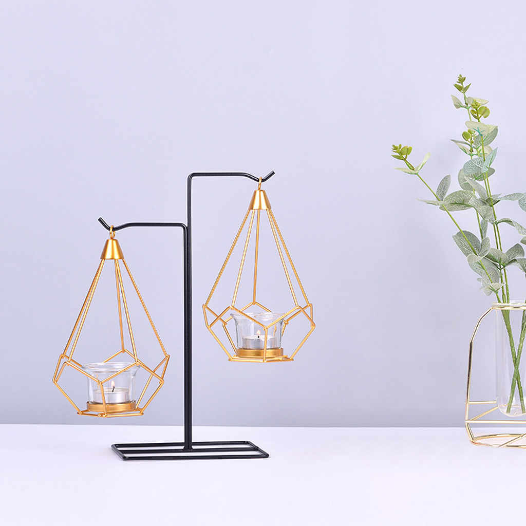 Nordic Brief Candlestick Creative Decorative Hanging Table Lantern Geometry Iron Candlelight Dinner Props Gift Night  Home Decor