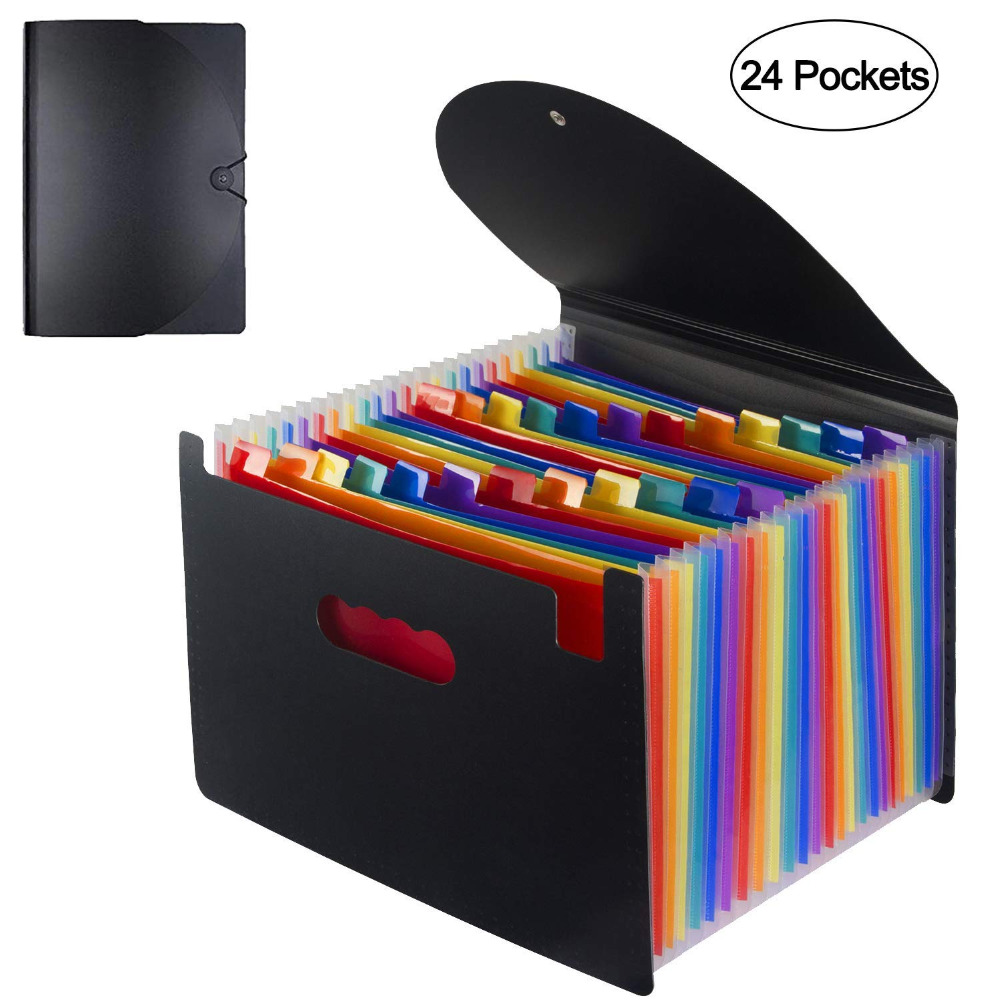 Expanding A4 For File Folder-OffiConsent Plastic Rainbows Organizer A4 Letter Size Portable Documents Holder Wallet Desk Storage