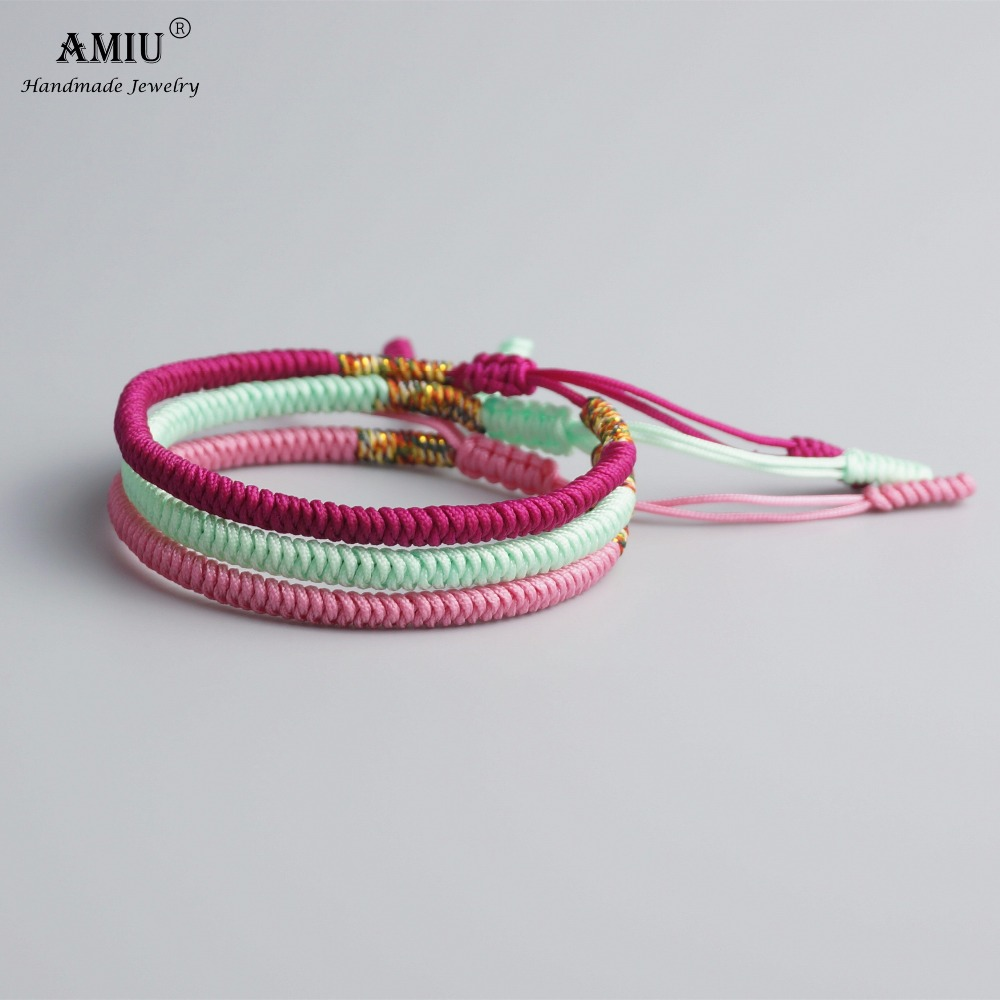 AMIU Multi Color Tibetan Buddhist Love Charm Tibetan Bracelets & Bangles For Women Men Handmade Knots Rope Budda Lucky Bracelet