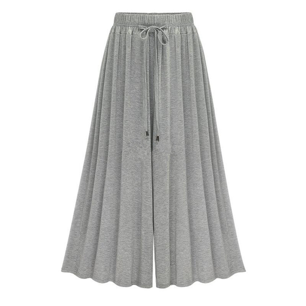 2019 Women Casual Loose   Wide     Leg     Pants   Womens Elegant Fashion Preppy Style Trousers Female Pure Color Females New Palazzo   Pants