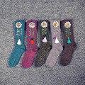 Mujeres summer girasol damas joya borla de algodón calcetines de invierno cálido calcetines floral flor del brillo rhinestone calcetín color puro femenino