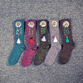 Women Summer Sunflower Tassel Cotton Socks Winter Warm Ladies Gem Socks Floral Pure Color Female Flower Glitter Rhinestone Sock