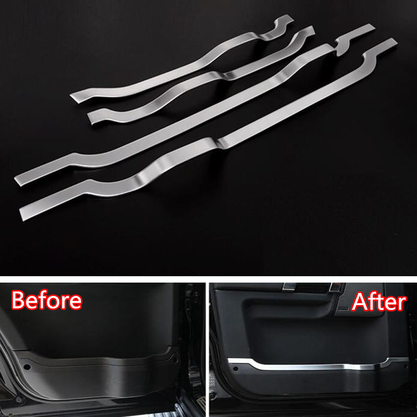 YAQUICKA 4Pcs/set Car Interior Door Decoration Strips Trim Cover Sticker Fit For Land Rover Discovery 4 2010-2016 Styling car styling abs chrome car door cover decoration trim strips car interior mouldings for land rover discovery 4 2010 2016
