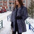BFFUR Новый Женский Мода Подлинная Silver Fox Шуба Натуральный Мех Пальто Куртки Верхняя Одежда 3/4 Рукава Тонкий Дизайн Весна BF-C0006