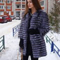 BFFUR New Women Fashion Genuine Silver Fox Fur Coat Real Fur Coats Jacket Outerwear 3/4 Sleeves Slim Design Spring  BF-C0006