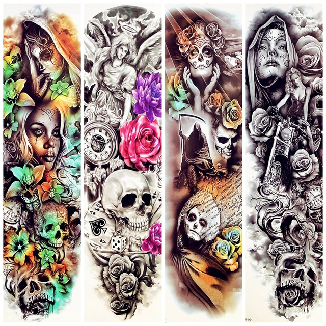 0fca5115736bc Large Full Body Arm Henna Girl With Skull Rose Flower Temporary Tattoo  Stickers For Women Makeup Party Men Waterproof Tatoos Leg