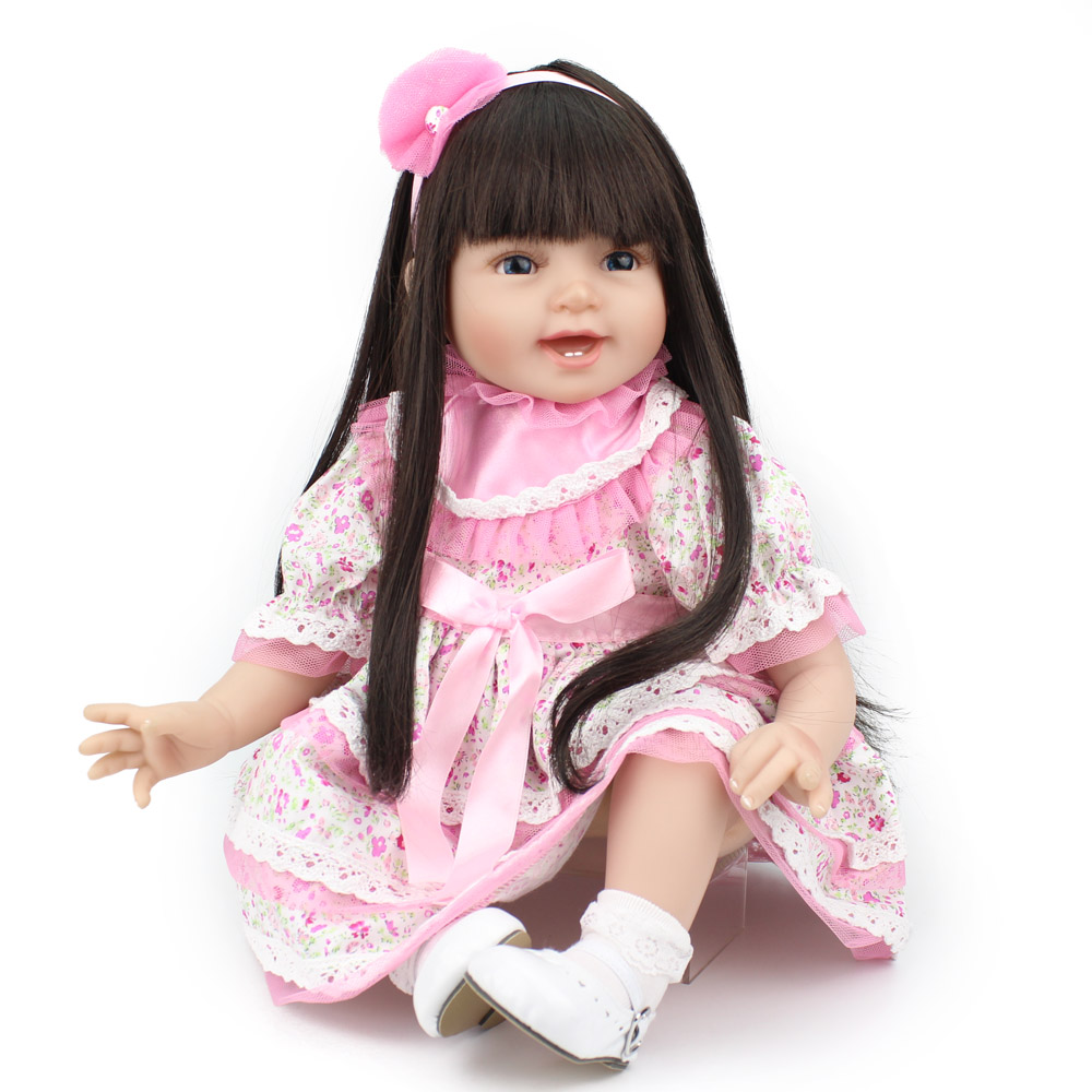 Silicone Reborn Baby Doll Girls Toys 22Inch Cute Girl Doll For Christmas Gift Lifelike Reborn Kids