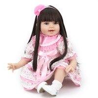 Silicone Reborn Baby Doll Cô Gái Đồ Chơi 22 Inch Dễ Thương Cô Gái Búp Bê Cho Giáng Sinh Quà Tặng Sống Động Như Thật Reborn Kids Đồ Chơi Chơi Búp Bê