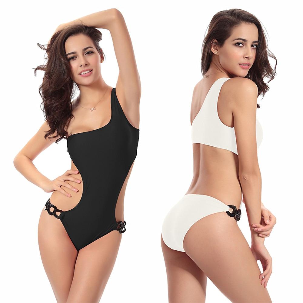 Swimsuits Woman 2019 Sexy One Shoulder Swimsuit Solid Bathing Suit One Piece Cut Out Monokini Biquini Swimwear Women Bikini