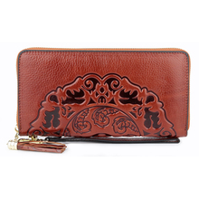 Luxurious 100% Genuine Leather Flower Women Wallet  Large Capacity Long Tassel Style Ladies Purses With Hand Rope Dropshipping
