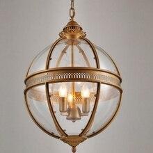 Vintage Loft Glass Globe Pendant Light Iron Round Ball Lamp