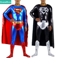 Free Shipping DHL Adult Superman Costume, Skintight Lycra Shiny Metallic Superman Bodysuit with Cape & Underwear SPH124
