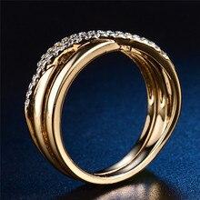 Budong Top nuevo antiguo mosaico AAA ZIRCON cristal vintage oro-color Cruz anillo mujeres dedo de la boda bijoux de lujo XUR580