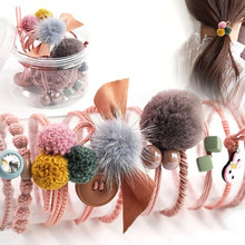 10Pcs/Box Fashion Hair Rubber Band Headwear Set For Women Simple Solid Color Ponytail Holder Fur Ball Headbands Headdress Girls(China)