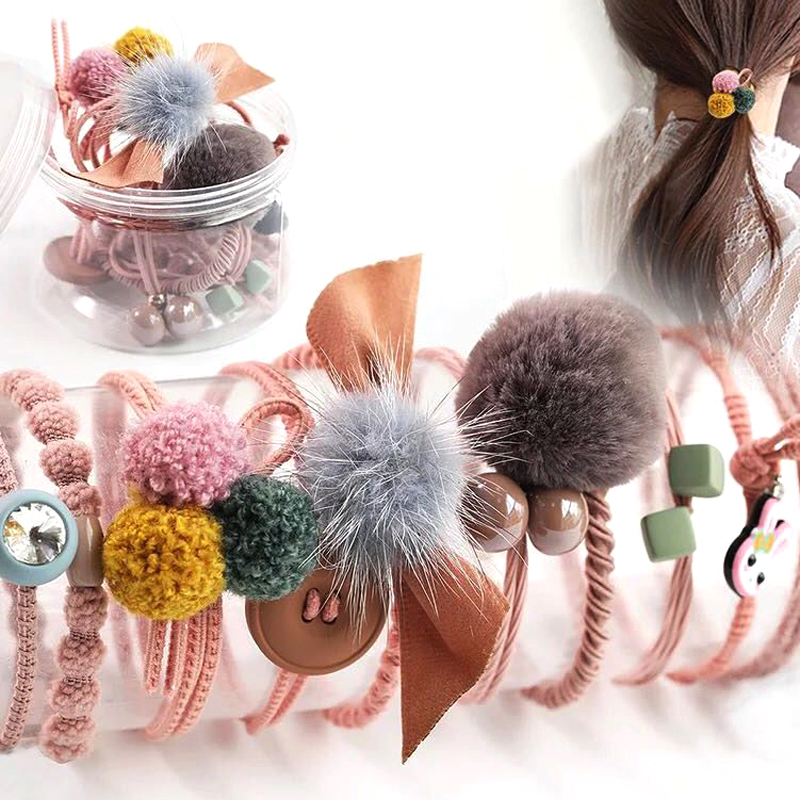 10Pcs/Box Fashion Hair Rubber Band   Headwear   Set For Women Simple Solid Color Ponytail Holder Fur Ball Headbands Headdress Girls