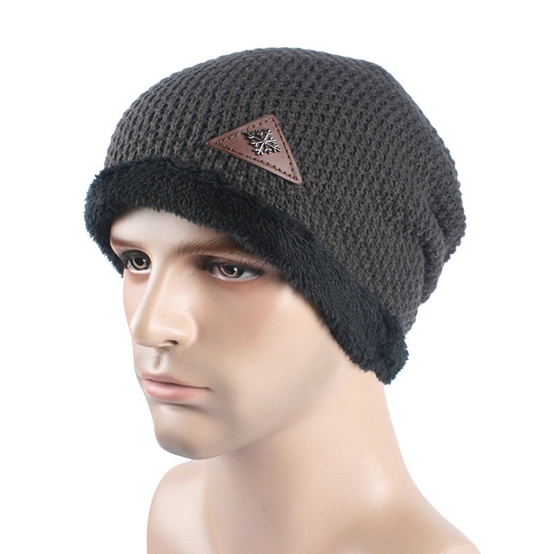 Men's Skullies Hat Bonnet Winter Beanie Knitted Wool Hat Plus Velvet Cap Thicker Mask Fringe Beanies Hats for men wool skullies cap hat 10pcs lot 2289