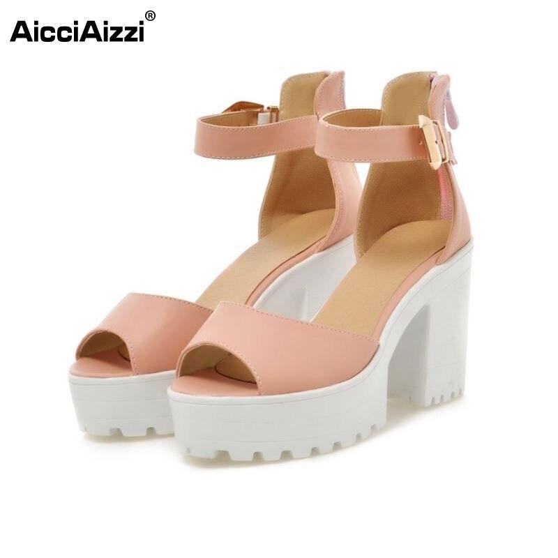 New Arrival Summer Shoes Wrap Open Toe Fashion Women Ankle Strap Sandals Thick Heel Platform Women Sandals Size 34-43 PA00776