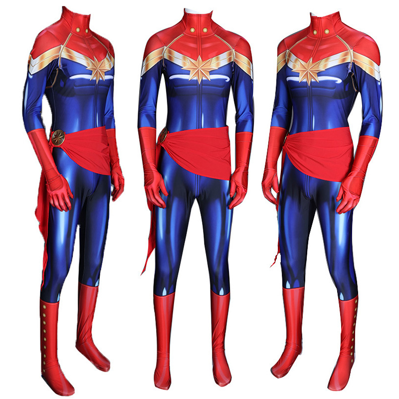 Captain Marvel Bodysuit Cosplay Costume Superhero Captain Marvel Zentai Sexy Jumpsuit Tight Bodysuit Halloween Party Props